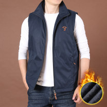Vest / vest Youth fashion Jane don fashion M L XL 3XL XXL 4XL Blue black Home easy Vest Plush and thicken winter stand collar middle age 2020 Youthful vigor nnt887 Solid color zipper Straight hem nylon Polyamide fiber (nylon) 100% other Embroidery nothing Zipper bag Winter 2020 More than 95%