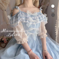 Lolita / soft girl / dress Witch wardrobe Light sky blue One size fits all, l, m, s, XL, XS Summer, spring and Autumn Customized Lolita