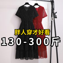 Women's large Summer 2020 Black, red 2XL,3XL,4XL,5XL,6XL Dress commute Self cultivation Conjoined Short sleeve Solid color other polyester fiber other Transfortegy / transformation strategy Gauze 96% and above longuette Cake skirt other