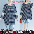 Women's large Summer 2018, autumn 2018 blue 2XL,3XL,4XL,5XL Other oversize styles commute Nine point sleeve stripe Korean version Crew neck Medium length cotton Collage other 1740 stripe lace Lace stitching 91% (inclusive) - 95% (inclusive) Medium length other Hollowing out Cotton 71% - 80%