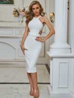 Dress / evening wear Party, date, daily, rite of passage, wedding, company annual meeting, performance XS,S,M,L White, black grace Middle-skirt Elastic waist Autumn 2020 Self cultivation Bandage Rayon 26-35 years old HL Sleeveless Other / other 91% (inclusive) - 95% (inclusive)