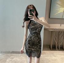 Dress Summer 2020 Black, white L,M,S Short skirt singleton  Sleeveless commute High waist Socket Hanging neck style 18-24 years old Type H Retro a610 30% and below
