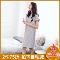 Home skirt Shirochi Short sleeve summer Crew neck leisure time Socket other cotton pure cotton rubber string