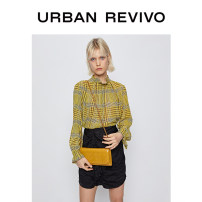 shirt Yellow check S XL XS L M XXL Spring 2020 polyester fiber 96% and above Long sleeves Original design Regular other routine lattice 25-29 years old UR Polyester 100% Same model in shopping mall (sold online and offline)