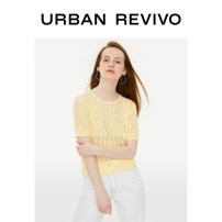T-shirt Light yellow S XL L M Autumn of 2019 Short sleeve Crew neck Regular routine acrylic fibres 51% (inclusive) - 70% (inclusive) 25-29 years old UR Same model in shopping mall (sold online and offline)