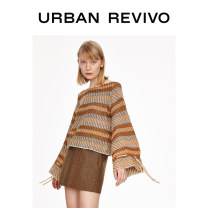Wool knitwear Spring 2020 S XS L M Yellow brown Long sleeves singleton  acrylic fibres 31% (inclusive) - 50% (inclusive) have cash less than that is registered in the accounts Low crew neck Lotus leaf sleeve stripe Socket 1WH02S9BE2000 25-29 years old UR