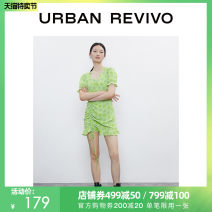 Dress Summer 2020 Green printing S XL L M XXL Middle-skirt Short sleeve V-neck middle-waisted routine 25-29 years old UR More than 95% other polyester fiber Polyester 96% polyurethane elastic fiber (spandex) 4% Same model in shopping mall (sold online and offline)