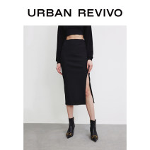 skirt Summer 2021 XXS S XS L M It's black Middle-skirt Natural waist 25-29 years old 91% (inclusive) - 95% (inclusive) UR polyester fiber Polyester 95% polyurethane elastic fiber (spandex) 5% Same model in shopping mall (sold online and offline)
