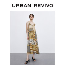 Dress Summer 2020 Dark brown print S XL L M Mid length dress singleton  Sleeveless V-neck middle-waisted other Socket other 25-29 years old UR 1WH19S7AS2004 More than 95% cotton Cotton 100% Same model in shopping mall (sold online and offline)