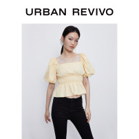 shirt Light yellow S XL XS L M XXL Summer 2020 cotton 96% and above Short sleeve Original design Short style (40cm < length ≤ 50cm) square neck bishop sleeve Solid color 25-29 years old UR 1WH19RBWE2001 Cotton 100% Same model in shopping mall (sold online and offline)