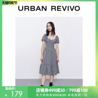 Dress Summer 2020 Black gray check S XL L M Mid length dress Short sleeve other middle-waisted Socket routine 25-29 years old UR YU19S7ES2003 More than 95% polyester fiber Polyester 97% polyurethane elastic fiber (spandex) 3% Same model in shopping mall (sold online and offline)