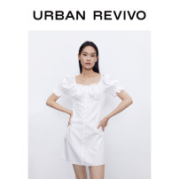 Dress Summer 2020 Benbai S XL XS L M Middle-skirt singleton  Short sleeve square neck middle-waisted routine 25-29 years old UR More than 95% other cotton Cotton 100% Same model in shopping mall (sold online and offline)