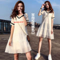 Dress Other / other Black breast-feeding clothing, white breast-feeding clothing, black maternity clothing, white maternity clothing M,L,XL,XXL leisure time Short sleeve Medium length summer V-neck Solid color Chiffon zy1018