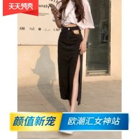 skirt Summer 2021 XS,S,M,L,XL Mid length dress commute High waist A-line skirt Solid color Type A 18-24 years old More than 95% Denim Other / other cotton Korean version 161g / m ^ 2 (including) - 180g / m ^ 2 (including)