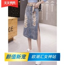 skirt Summer 2021 S,M,L,XL,2XL Blue (belt for collection and purchase) Mid length dress commute High waist A-line skirt Solid color Type A 18-24 years old zy1047 More than 95% other Other / other hole , Hand worn , pocket , Asymmetry , Button , zipper Korean version