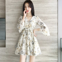 Dress Summer 2020 White floral skirt, blue floral skirt S,M,L,XL Short skirt singleton  elbow sleeve commute V-neck High waist Broken flowers Socket A-line skirt pagoda sleeve Others Type A Other / other lady 81% (inclusive) - 90% (inclusive) Chiffon