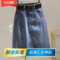 skirt Summer 2021 S,M,L,XL,2XL Blue + belt Mid length dress Versatile High waist A-line skirt Solid color Type A 18-24 years old WS More than 95% Denim Other / other other 61G / m ^ 2 (including) - 80g / m ^ 2 (including)