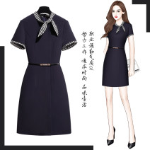 Dress Summer 2020 Navy Short Sleeve Black Short Sleeve S M L XL 2XL 3XL Middle-skirt singleton  Short sleeve commute other middle-waisted Solid color zipper Pencil skirt routine Others 25-29 years old Type X Meizhi kiss Ol style zipper C2130-1 More than 95% other Other 100%