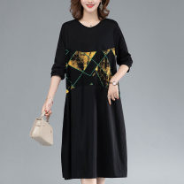 Dress Spring 2021 black Average size Mid length dress singleton  Long sleeves commute Crew neck middle-waisted other Socket A-line skirt routine Others 40-49 years old Type A Donna Furen / Mrs. Donna Korean version Splicing T20GZ-TYH82252 51% (inclusive) - 70% (inclusive) other cotton