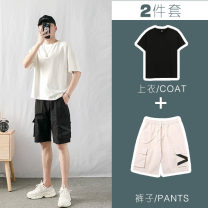 T-shirt Youth fashion thin S M L XL 2XL 3XL Rzmen Short sleeve Crew neck easy Other leisure summer R-DK/LANGHUA002 Cotton 100% youth Off shoulder sleeve tide Summer 2020 Solid color washing Domestic non famous brands Pure e-commerce (online only)