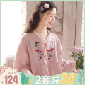 Home skirt Fudo S [about 100 kg postpartum] m [about 115 kg postpartum] l [about 130 kg postpartum] XL [about 145 kg postpartum] Long sleeves spring and autumn V-neck routine lovely Plants and flowers cotton pure cotton