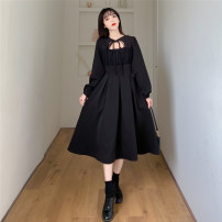 Women's large Spring 2021 black M suggested [80-95 Jin], l suggested [95-110 Jin], XL suggested [110-125 Jin], 2XL suggested [125-150 Jin], 3XL suggested [150-175 Jin], 4XL suggested [175-200 Jin] Dress singleton  commute easy moderate Socket Long sleeves Solid color Korean version other other bow