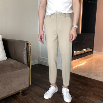 Casual pants Mo Mo Youth fashion Black, apricot, grey, brown S,M,L,XL,2XL,3XL routine Ninth pants Other leisure Straight cylinder Micro bomb T6506 summer youth tide 2019 Medium low back Straight cylinder Polyester 78% viscose (viscose) 18% polyurethane elastic (spandex) 4% Tapered pants Solid color
