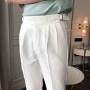 Casual pants Mo Mo Fashion City white M,L,XL,2XL,3XL routine Ninth pants Other leisure Self cultivation Micro bomb UC9806 summer youth tide 2019 Medium low back Little feet Polyester 78% viscose (viscose) 18% polyurethane elastic (spandex) 4% Tapered pants Hem at hem washing Solid color other