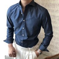 shirt Fashion City Mo Mo S,M,L,XL,2XL Denim blue routine Windsor collar Long sleeves Self cultivation daily summer UC6264 youth Cotton 100% tide 2019 Solid color cotton More than 95%