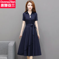 Dress Summer 2020 2201 red dress 2201 blue dress M L XL XXL XXXL 4XL Mid length dress singleton  Short sleeve commute square neck middle-waisted Solid color Socket Ruffle Skirt routine Others 35-39 years old Type A Donna Zilan / Donna Zilan Korean version Lace up T20L2201 More than 95% Chiffon