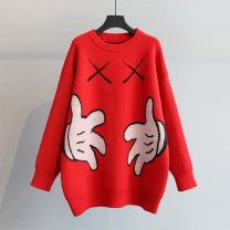 sweater Winter of 2019 One size fits all (tmall good quality) Red blue black gray red 1 Blue 1 gray 1 Black 1 Long sleeves Socket singleton  Medium length acrylic fibres 31% (inclusive) - 50% (inclusive) Crew neck thickening commute routine Cartoon animation Straight cylinder Regular wool Yingfuni
