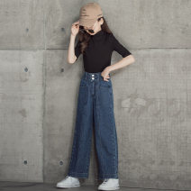 trousers Other / other female 120cm,130cm,140cm,150cm,160cm,165cm blue spring trousers Korean version There are models in the real shooting Jeans Leather belt High waist other Don't open the crotch Other 100% Wide leg pants 7, 8, 9, 10, 11, 12, 13, 14
