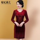 Middle aged and old women's wear Winter of 2019 Burgundy (style 1) Burgundy (style 2) champagne (style 2) L XL 2XL 3XL 4XL 5XL 6XL fashion Dress Self cultivation singleton  other 40-49 years old Socket moderate Medium length routine NF5899Q Beautiful princess Diamond inlay polyester zipper other