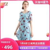 Dress Summer of 2019 S M L XL XXL XXXL Mid length dress 40-49 years old Zormie E82LS85 More than 95% silk Mulberry silk 100%