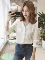 shirt S,M,L,XL,2XL Spring of 2019 other 30% and below Long sleeves commute V-neck Single row multi button routine Solid color Straight cylinder Lace