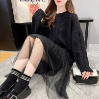 sweater Winter 2020 Average size Black Khaki Beige Long sleeves Socket Fake two pieces Medium length acrylic fibres 31% (inclusive) - 50% (inclusive) Crew neck thickening commute routine Solid color Straight cylinder Keep warm and warm 25-29 years old Fairy Princess XF5552