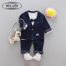 Suit / Blazer M · nollby / milubi male No model in real shooting Britain lattice spring and autumn routine Single breasted cotton Class A Cotton 100% BS0el Cotton liner Summer of 2019 12 months 18 months 2 years 3 years 4 years Navy grey black striped suit grey striped suit Navy striped suit