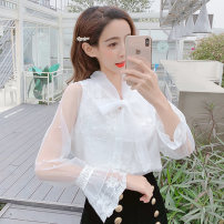 Lace / Chiffon Spring of 2019 White apricot S M L XL Long sleeves commute Socket singleton  Straight cylinder Regular Crew neck Solid color 25-29 years old LK2003 bow Korean version Other 100% Pure e-commerce (online only)