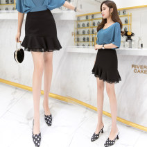 skirt Spring of 2019 S M L XL 2XL 3XL black Short skirt commute High waist Irregular Solid color 25-29 years old LK181-7623 LK2003 Korean version Pure e-commerce (online only)