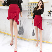 skirt Spring of 2019 S M L XL 2XL 3XL Black red grey Short skirt commute High waist Irregular Solid color Type O 25-29 years old LK2003 Korean version Pure e-commerce (online only)