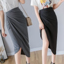 skirt Summer of 2019 S M L XL Black 6873 black autumn winter 6873 green autumn winter grey skirt + white top black skirt + white top grey Mid length dress commute High waist Irregular Solid color Type A 25-29 years old LK191-4634 More than 95% LK2003 other Pleated zipper Korean version Other 100%