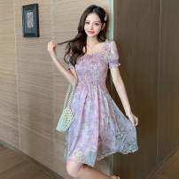 Dress Summer 2021 violet S M L XL Mid length dress singleton  Short sleeve commute square neck High waist Decor Socket A-line skirt puff sleeve Others 25-29 years old Type A LK2003 Korean version fungus 81% (inclusive) - 90% (inclusive) Chiffon polyester fiber Polyester 90% other 10%