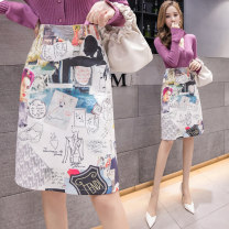 skirt Autumn of 2019 S M L XL Decor Middle-skirt commute High waist A-line skirt Abstract pattern Type A 25-29 years old LK2003 printing Korean version Pure e-commerce (online only)
