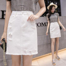 skirt Spring of 2019 S M L XL 2XL White skirt Middle-skirt commute High waist Denim skirt Type A 25-29 years old LK191-1066 LK2003 Tassel hole button zipper Korean version Pure e-commerce (online only)