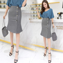 skirt Spring of 2019 S M L XL 2XL 3XL Black red grey Middle-skirt commute High waist skirt Solid color Type X 25-29 years old LK2003 Korean version Pure e-commerce (online only)