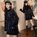 Dress Winter of 2019 Colorful black Plush bag Pure Black Sequin Plush bag Pure Black Sequin Plush bag color Sequin Plush bag S M L XL Short skirt singleton  Long sleeves commute Crew neck 25-29 years old LK2003 Korean version LK193-5948 More than 95% other Other 100% Pure e-commerce (online only)