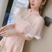 Dress Summer 2021 Pink S M L XL Short skirt singleton  Short sleeve commute stand collar middle-waisted Solid color zipper A-line skirt routine 25-29 years old Type A LK2003 Korean version LK211-5373 81% (inclusive) - 90% (inclusive) Lace polyester fiber Polyester 90% other 10%