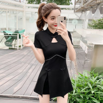 Dress Summer 2020 black S M L XL 2XL Short skirt Two piece set Short sleeve commute routine 25-29 years old Type A LK2003 Korean version LK201-0752 81% (inclusive) - 90% (inclusive) polyester fiber Polyester 90% other 10% Pure e-commerce (online only)