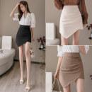 skirt Spring 2020 S M L XL Black Khaki apricot Short skirt commute High waist A-line skirt Solid color Type A 25-29 years old LK201-1106 LK2003 Fold asymmetric zipper Korean version Pure e-commerce (online only)