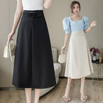 skirt Summer 2021 S M L XL Black apricot Mid length dress commute High waist Umbrella skirt Solid color Type A 25-29 years old LK211-3914 More than 95% LK2003 other zipper Korean version Other 100% Pure e-commerce (online only)